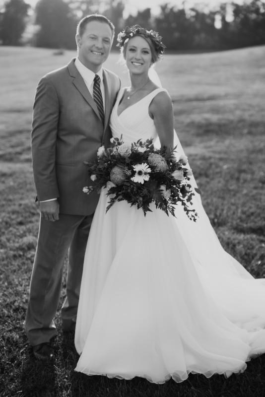 Real bride Sarah in her Ellis bridals wedding dress 11427